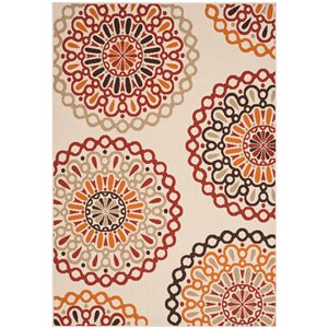 Safavieh Crème and Red Veranda Indoor/Outdoor Rug,VER
