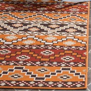 Safavieh Red and Chocolate Veranda Indoor/Outdoor Rug,VER095