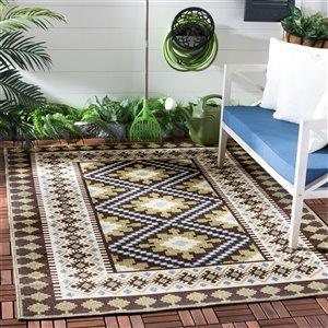 Safavieh Chocolate and Green Veranda Indoor/Outdoor Rug,VER0