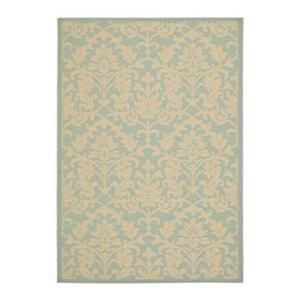 Safavieh Courtyard 7 ft x 10 ft Blue and Cream Indoor/Outdoor Area Rug