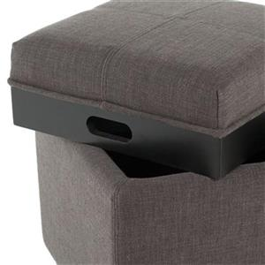 Safavieh Harrison 17.00-in x 18.00-in Charcoal Polyester Tray Ottoman