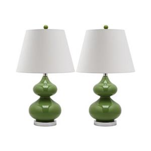Safavieh 24-in Fern Green Double-Gourd Lamps (Set of 2)