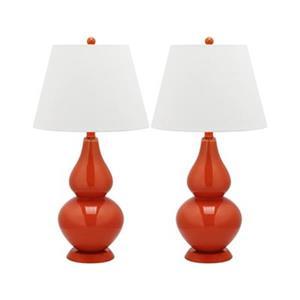 Safavieh 26.50-in Blood Orange Cybil Double-Gourd Table Lamps (Set of 2)