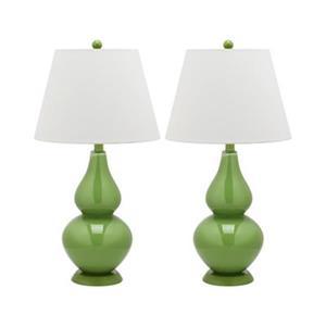 Safavieh 26.50-in Fern Green Cybil Double-Gourd Table Lamps (Set of 2)