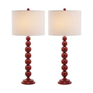 Safavieh 31-in Chinese Red Jenna Stacked Ball Lamps (Set of 2)