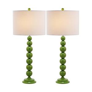 Safavieh 31-in Fern Green Jenna Stacked Ball Lamps (Set of 2)