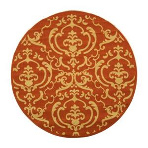 Safavieh Courtyard Indoor/Outdoor Round Orange Area Rug