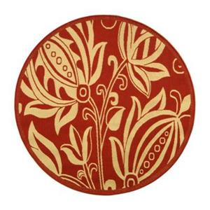 Safavieh Courtyard Round Red and Natural Area Rug