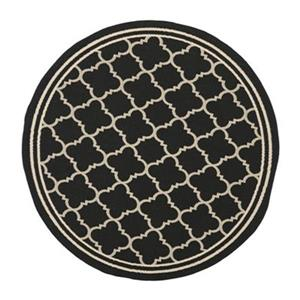 Safavieh Courtyard Indoor/Outdoor 7-ft x 10-ft Round Black and Cream Area Rug