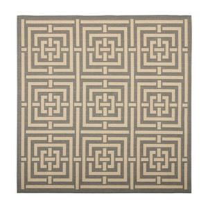 Safavieh Courtyard 8 ft x 8 ft Grey and Cream Indoor/Outdoor Area Rug