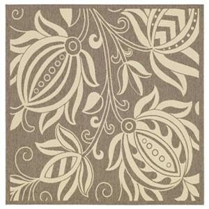 Safavieh Courtyard 8 ft x 8 ft Brown and Natural Indoor/Outdoor Area Rug