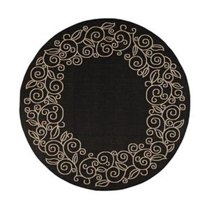 Safavieh Courtyard 8 ft x 8 ft  Black and Beige Area Rug