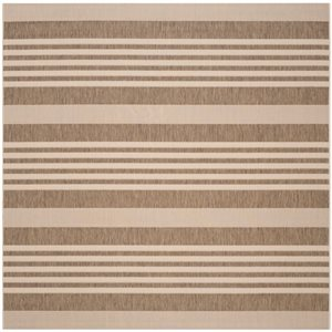 Safavieh Courtyard 8 ft x 8 ft Brown and Bone Area Rug