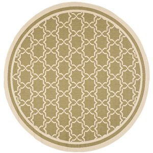 Safavieh Courtyard 8 ft x 8 ft Green and Beige Area Rug