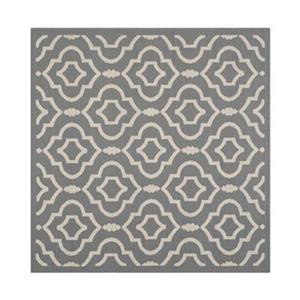 Safavieh Courtyard 8 ft x8 ft Anthracite and Beige Area Rug