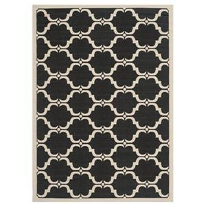 Safavieh Courtyard 7 ft x 10 ft Black and Beige Area Rug