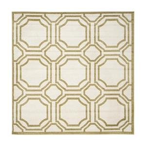 Ivory and Light Green Amherst Indoor/Outdoor Rug