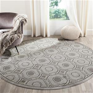 Safavieh Light Grey and Ivory Amherst Indoor/Outdoor Rug,AMT
