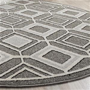 Safavieh Veranda 7-ft Round Ivory/Grey Geometric Indoor/Outdoor Rug