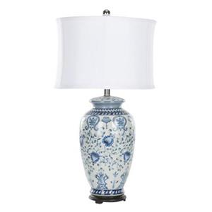Safavieh 28-in Blue/White Ceramic Paige Jar Lamp
