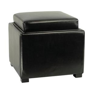 Safavieh Bobbi 17.00-in x 18.00-in Black Faux Leather Storage Ottoman