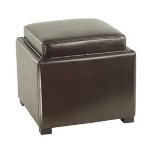 Safavieh Bobbi 17.00-in x 18.00-in Brown Faux Leather Storage Ottoman