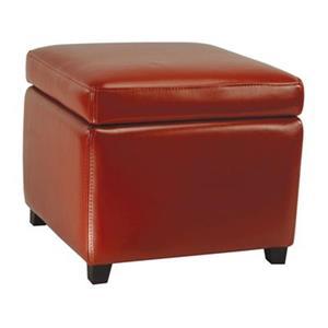 Safavieh Jonathan 17.00-in x 18.00-in Red Faux Leather Fliptop Ottoman