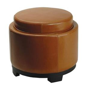 Safavieh 17.00-in x 19.00-in Saddle Faux Leather Storage Tray Ottoman