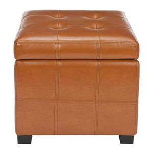 Safavieh Maiden 16.50-in x 17.50-in Saddle Faux Leather Tufted Ottoman