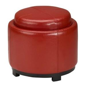Safavieh Chelsea 17.00-in x 19.00-in Red Faux Leather Tray Ottoman