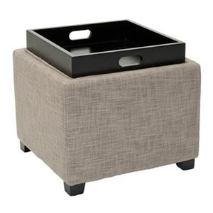 Safavieh Harrison 17.00-in x 18.00-in Gray Polyester Tray Ottoman