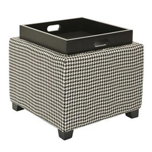 Safavieh Harrison 17.00-in x 18.00-in Houndstooth Polyester Tray Ottoman