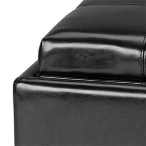 Safavieh Harrison 17.00-in x 18.00-in Black Faux Leather Tray Ottoman