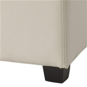 Safavieh Harrison 17.00-in x 18.00-in Cream Faux Leather Tray Ottoman