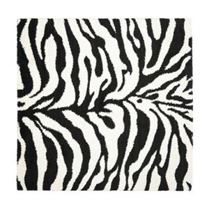 Florida Shag Area Rug, Ivory/Black