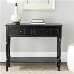Safavieh Samantha 2-Drawer Rectangular Distressed Black Wood Console Table