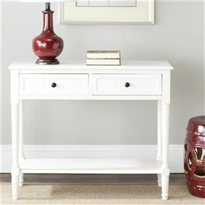 Safavieh Samantha 2-Drawer Rectangular Distressed Cream Wood Console Table