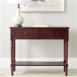 Safavieh Samantha 2-Drawer Rectangular Dark Cherry Wood Console Table