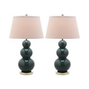 Safavieh 30-in Marine Blue Pamela Triple Gourd Table Lamps (Set of 2)