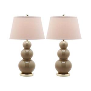 Safavieh 30-in Taupe Pamela Triple Gourd Table Lamps (Set of 2)