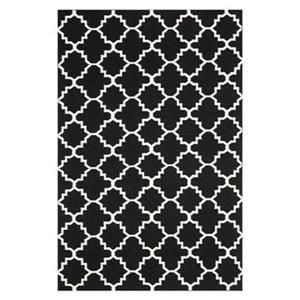 Dhurries Black and Ivory Area Rug