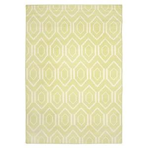 Dhurries Green and Ivory Area Rug