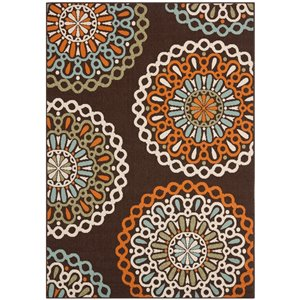Safavieh VER092-0725 Veranda Area Rug, Chocolate / Terracott