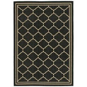 Courtyard Black and Creme Area Rug