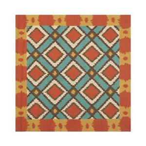 Safavieh Four Seasons 6 ft x 6 ft Light Blue and Red Area Rug