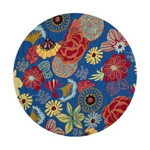 Safavieh Four Seasons Round Blue and Red Area Rug