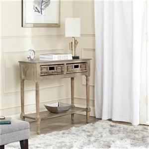 Safavieh Corbin British Colonial Style 2-Drawer Rectangular Washed Natural Pine Console Table