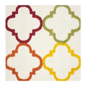 Kids Shag Ivory and Multi-Colored Area Rug