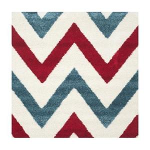 Kids Shag Ivory and Red Area Rug