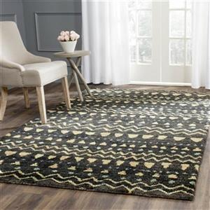 Bohemian Hand-Knotted Black and Gold Area Rug